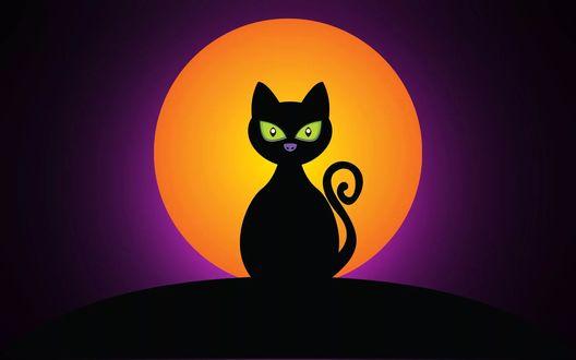 Обои Нарисованный черный кот с зелеными глазами