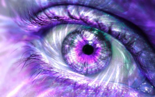 Обои Разноцветный глаз девушки крупным планом