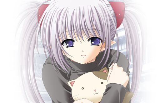 Обои Примула / Primula с кошкой в руках из аниме Шафл! / Shuffle!