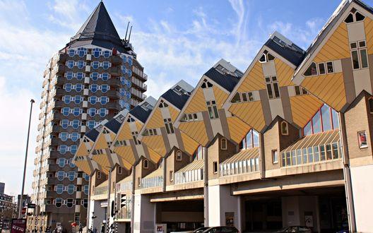 Обои Необычные дома кубической формы в Роттердаме, Нидерланды