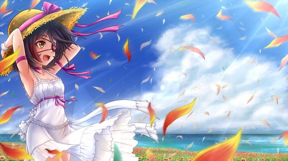 Обои Mirei Hayasaka / Мирей Хаясака придерживает свою шляпу, чтобы она не улетела с порывом ветра