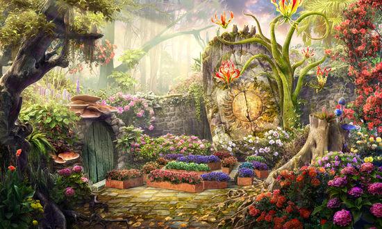 Обои Сказочный дворик с разными цветами и существами, by Rei-tanna
