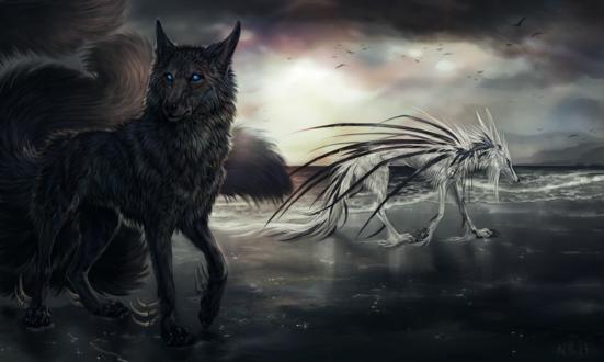 Обои Два фантастических волка на морском берегу, by NukeRooster
