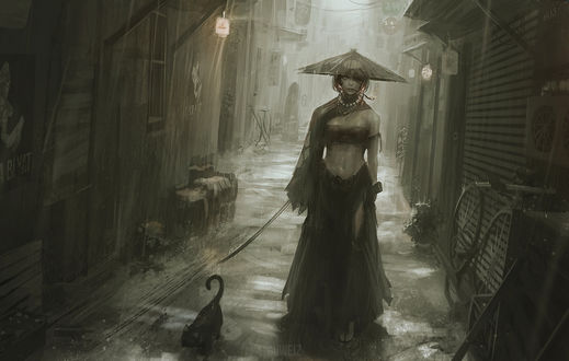 Обои Девушка в головном уборе с мечом в руке стоит в переулке, by guweiz