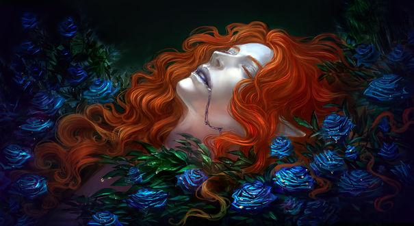 Обои Рыжеволосая девушка с закрытыми глазами в синих розах, Gorgeous, by Anndr Kusuriuri