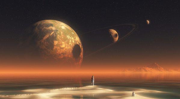 Обои Человек стоит на красивой неизведанной планете