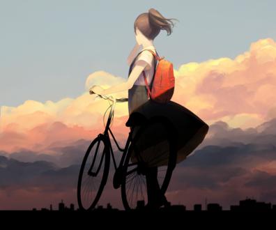 Обои Девушка с велосипедом смотрит на город, by 爽々