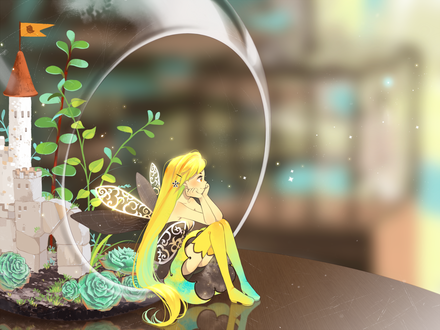 Обои Девушка-фея сидит на краю аквариума стоящего на столе, в котором расположен домик в окружении растении, by Semcool