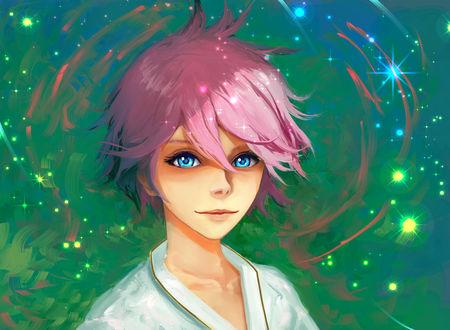 Обои Голубоглазый парень с розовыми волосами, by Hangmoon