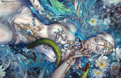Обои Девушка лежит среди цветов в воде, by Dark134