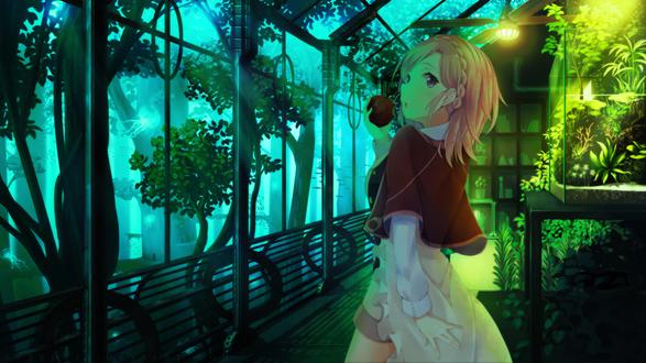 Обои Девушка ест яблоко в подводном террариуме, автор оригинала ど〜ら, фотошоппинг от Zvezda11