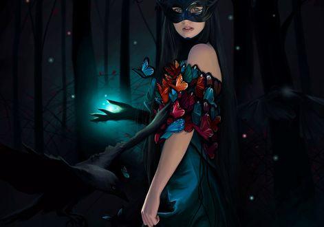 Обои Девушка с маской на лице и с бабочками на ней стоит в волшебном лесу, by Cecilia G. F