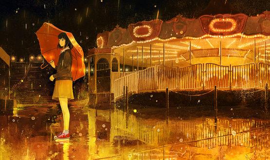Обои Девушка в парке аттракционов, by げみ