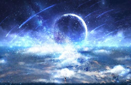 Обои Девушка стоит в траве на фоне неба, в котором планета, by CZY