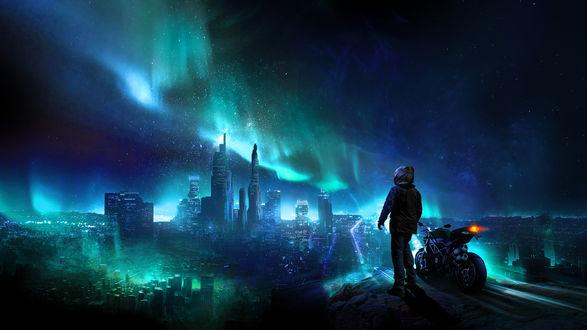 Обои Парень стоит рядом с мотоциклом перед ночным городом, by t1na