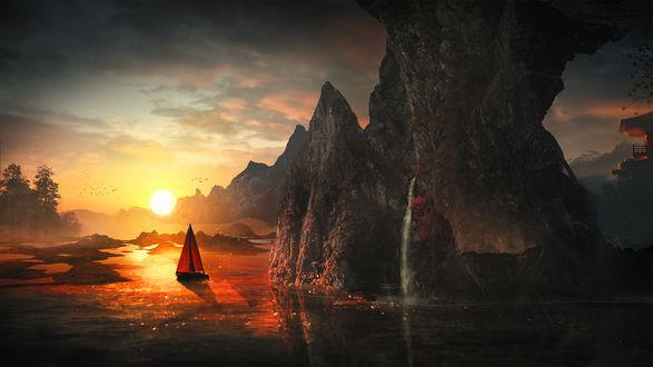 Обои Парусник на фоне заката у скал, by t1na