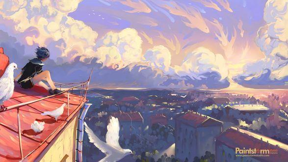 Обои Мальчик сидит на крыше дома и любуется видом на город под облаками, by Hangmoon