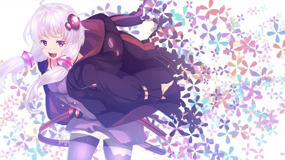 Обои Вокалоид Yuzuki Yukari / Юзуки Юкари бежит, оставляя за собой след из цветов