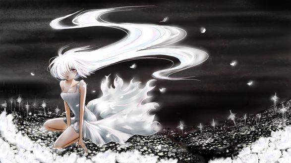 Обои Девушка с длинными развивающимися волосами на ветру, сидит на земле