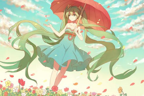 Обои Вокалоид Мику Хацунэ / Miku Hatsune идет по полю цветов, держа зонт в руке