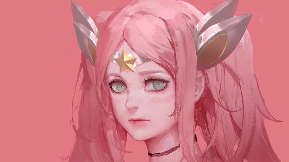 Обои Девушка с розовыми волосами со звездой на лбу