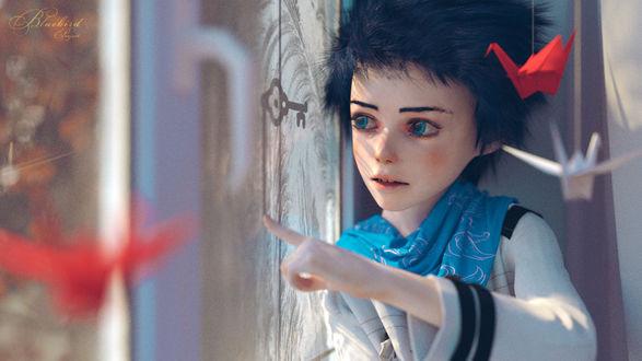 Обои Голубоглазый мальчик сидит у окна перед оригами, by Hangmoon