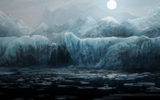 Обои Вздымающиеся замерзшие волны, переходящие в ледяные торосы на берегу, на заднем фоне размытые горы и тусклое зимнее солнце, пробивающееся сквозь дымку