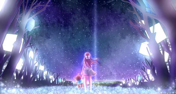 Обои Rin / Рин из аниме Shelter / Убежище, с медвежонком в руке на фоне звездного неба, by Scruffypoop