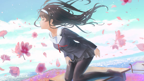 Обои Утаха Касумигаока / Utaha Kasumigaoka из аниме Как воспитать героиню из обычной девушки / Saenai Heroine no Sodatekata