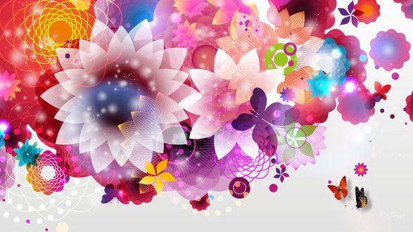 Обои Цветочная абстракция с бабочками