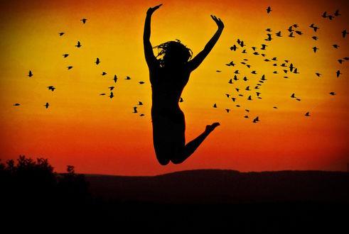 Обои Силуэт девушки в прыжке над землей на фоне неба и птиц