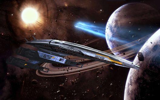 Обои Космический корабль в космосе, пролетающий рядом с планетами