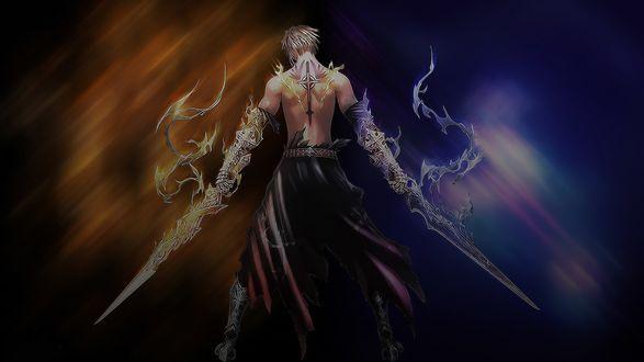 Обои Воин к нам спиной с мечами двух стихий огня и воды
