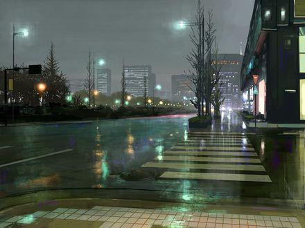 Обои Вечерняя улица после дождя