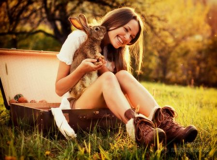 Обои Девушка с кроликом сидит в чемодане