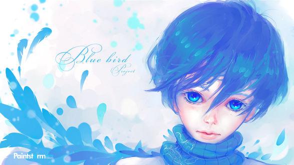 Обои Милый голубоглазый мальчик с голубыми волосами, by Hangmoon