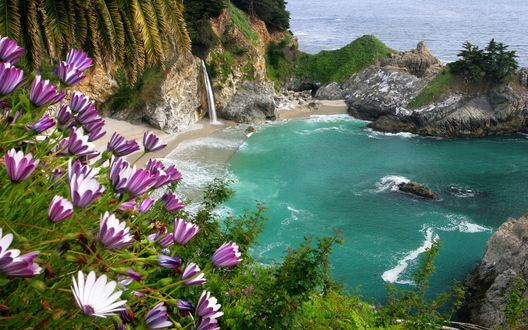 Обои Водопад спадает в небольшую заводь, отгороженную камнями от моря, на переднем плане бело-лиловые цветы