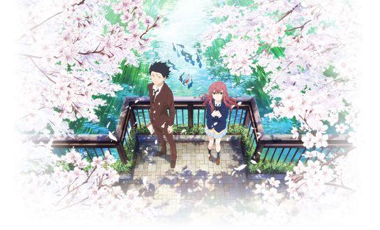 Обои Шоя Ишида / Shouya Ishida и Шоко Нишимия / Shouko Nishimiya из аниме Форма голоса / Koe no Katachi, стоят на мосту под цветущими деревьями сакуры