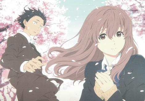Обои Шоя Ишида / Shouya Ishida и Шоко Нишимия / Shouko Nishimiya из аниме Форма голоса / Koe no Katachi, на фоне цветущих сакур