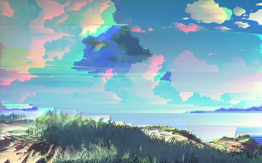 Обои Пейзаж из аниме Пять сантиметров в секунду / Five Centimeters Per Second / Byousoku 5 Centimeter by Makoto Shinkai с красочными облаками