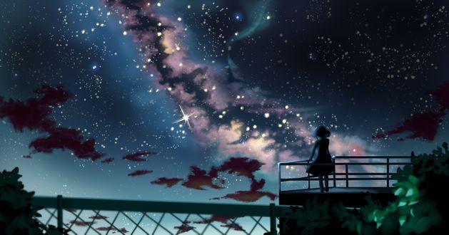 Обои Девушка смотрит на млечный путь, by ん
