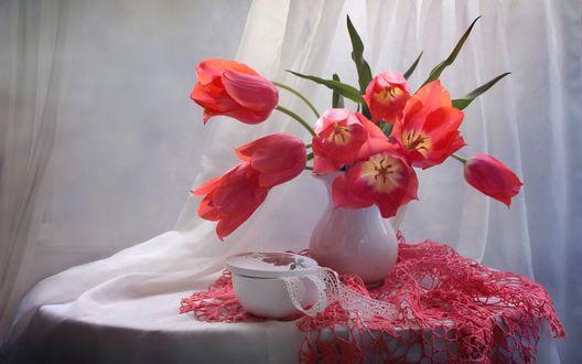 Обои Тюльпаны в керамической вазе на столе