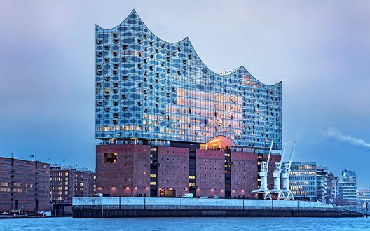 Обои Уникальная Эльбская филармония, Гамбург, Германия