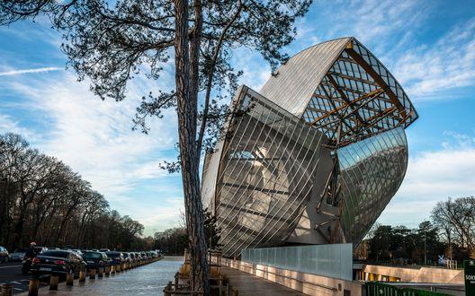 Обои Необычное современное стеклянное здание, Индия
