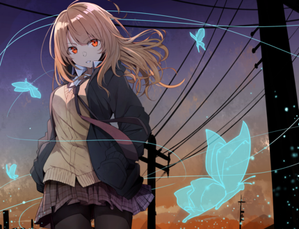Обои Девушка со светлыми волосами стоит на фоне неба на закате в окружении голубых бабочек, by Kazenoko