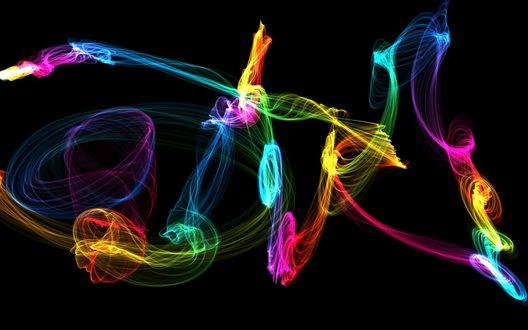 Обои Разноцветные размытые абстрактные изображения на черном фоне