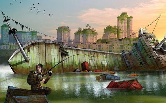 Обои Мужчина рыбачит на воде, затопившей руины заброшенного города, на заднем плане покосившиеся многоэтажки, на которых растут деревья, мох и зелень