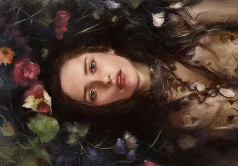 Обои Девушка лежит на воде среди цветов, by Tim Liu