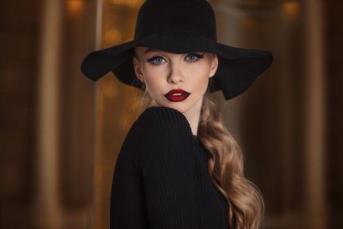 Обои Девушка в шляпе, Фотограф Александр Ветелкин