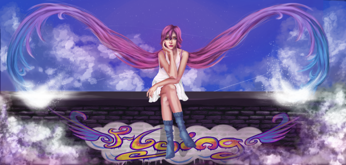 Обои Девушка с длинными розово-голубыми волосами сидит на заборе, на фоне голубого неба, by chabbix
